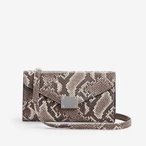 Express Neutral Snakeskin Print Chain Strap Wallet